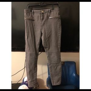 ASOS high waisted grey motorcycle pants skinny